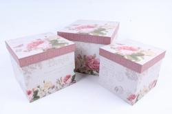 Набор подарочных коробок  из 3 шт - КУБ    W9490  (М)
