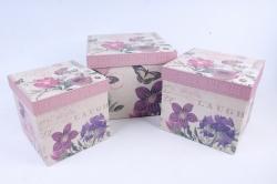 Набор подарочных коробок  из 3 шт - КУБ   W9489  (М)