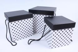 Набор подарочных коробок  из 3 шт - КУБ  Черно/белый   W9674  (М)