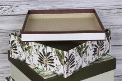Набор подарочных коробок  из 3 шт - Квадрат Экзотика 24*24*11см В461
