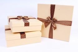 Набор подарочных коробок  из 3 шт - Квадрат крафт бант коричневый горох  Р170