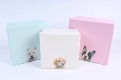 Набор подарочных коробок  из 3 шт - квадрат розовый (щенок)     W6676  (М)