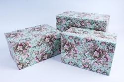 Набор подарочных коробок  из 3 шт - Прямоугольник Цветы на мятном