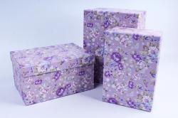 Набор подарочных коробок  из 3 шт - Прямоугольник Цветы на сиреневом
