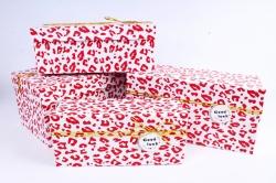 Набор подарочных коробок  из 4 шт - Прямоугольник Кляксы красные  Т46