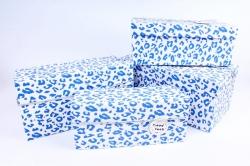 Набор подарочных коробок  из 4 шт - Прямоугольник Кляксы синие Т46