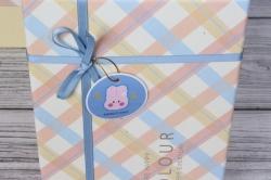 Набор подарочных коробок  из 3 шт - Прямоугольник косая клетка шампань 28*21*10см В495