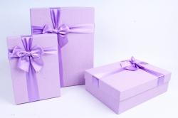 Набор подарочных коробок  из 3 шт - Прямоугольник Сирень с атласным бантом  В22