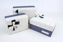Набор подарочных коробок  из 3 шт - Прямоугольник  синий   К425