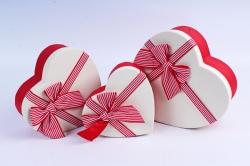 Набор подарочных коробок  из 3 шт - Сердце бант в полоску белая крышка