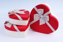 Набор подарочных коробок  из 3 шт - Сердце бант в полоску красная крышка