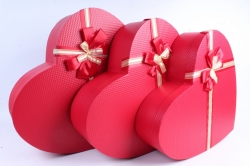 Набор подарочных коробок  из 3 шт - Сердце большое красное тиснёное