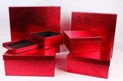 Набор подарочных коробок  из 6 шт- Квадрат Металл красный  G103