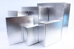 Набор подарочных коробок  из 6 шт- Квадрат Металл серебро
