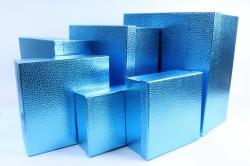 Набор подарочных коробок  из 6 шт- Квадрат Металл синий