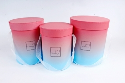 Набор подарочных коробок  из 3шт - Цилиндр Градиент коралл/голубой К714