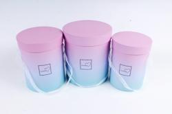 Набор подарочных коробок  из 3шт - Цилиндр Градиент малиново/голубой  К714