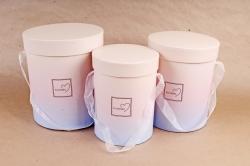 Набор подарочных коробок  из 3шт - Цилиндр Градиент розово/сиреневый К714