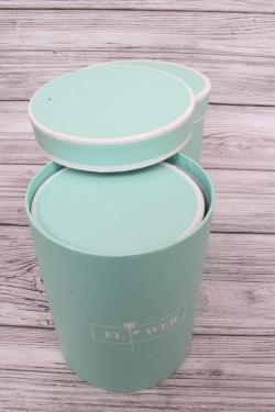 Набор подарочных коробок  из 3шт - Цилиндр пастель с полоской мята d=17, h=20смВ293