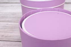 Набор подарочных коробок  из 3шт - Цилиндр пастель с полоской сирень d=17, h=20смВ293