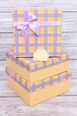 Набор подарочных коробок  из 3шт - Квадрат Клетка жёлтый/сиреневый 24*24*11