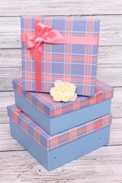 Набор подарочных коробок  из 3шт - Квадрат Клетка розовый/голубой 24*24*11