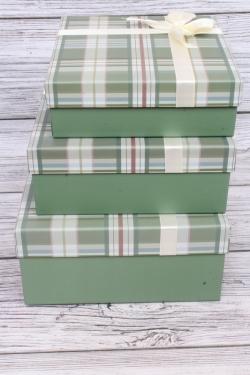Набор подарочных коробок  из 3шт - Квадрат Клетка зелёный/белый 24*24*11