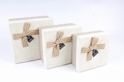 Набор подарочных коробок  из 3шт - Квадрат рифленый песочный  S589