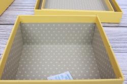 Набор подарочных коробок  из 3шт - Квадрат Ромашка жёлтый 21*21*10