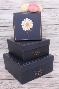 Набор подарочных коробок  из 3шт - Квадрат Ромашка синий 21*21*10