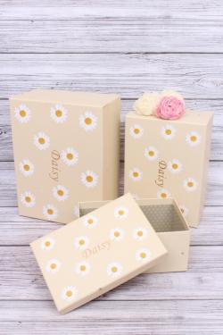 Набор подарочных коробок  из 3шт - Прямоугольник Ромашки кремовый 28*21*13