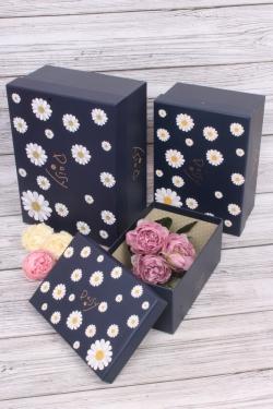 Набор подарочных коробок  из 3шт - Прямоугольник Ромашки синий 28*21*13