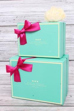 Набор подарочных коробок  из 3шт - Прямоугольник  Бирюза 18*14*11