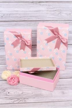 Набор подарочных коробок  из 3шт - Прямоугольник  Меконопсис розовый 25*17*10