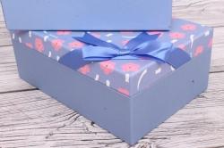 Набор подарочных коробок  из 3шт - Прямоугольник  Меконопсис васильковый 25*17*10