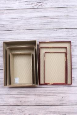 Набор подарочных коробок  из 3шт - Прямоугольник  Перламутровый бордо 29*22*11