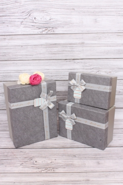 Набор подарочных коробок  из 3шт - Прямоугольник  Перламутровый графит 29*22*11