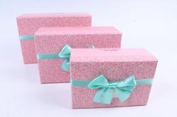 """Набор подарочных коробок  из 3шт -Прямоугольник """" Ситчик"""" розовый"""