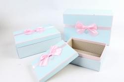 Набор подарочных коробок  из 3шт -Прямоугольник голубой сердца