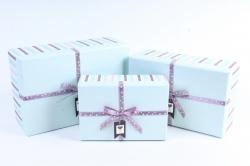 Набор подарочных коробок  из 3шт -Прямоугольник Полоска голубой бант звёзды
