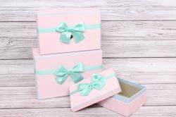 Набор подарочных коробок  из 3шт -Прямоугольник розовый с Зайцами 25*17*10 Н41