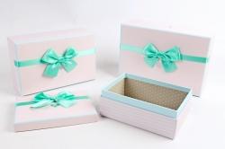Набор подарочных коробок  из 3шт -Прямоугольник розовый сердца   Н41