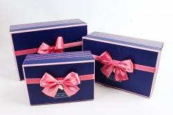 Набор подарочных коробок  из 3шт -Прямоугольник синие сердца   Н41