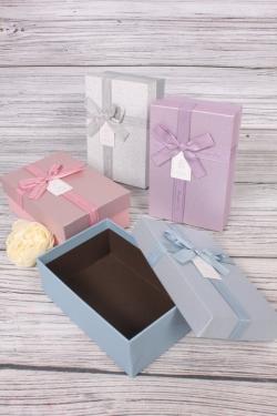 Набор подарочных одиночных коробок из 4 шт - Прямоугольник блестки 16*11*6см В726