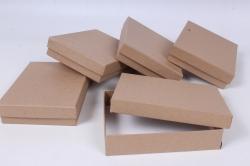 """Набор подарочных одиночных коробок из5шт -  Крафт """"Прямоугольник"""" 12*16*3,5см Пин22-2-К"""