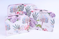 Набор подарочный коробок из 3 шт - Чемодан Гортензия и бабочки  R17
