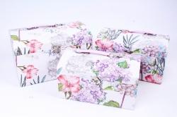 Набор подарочный коробок из 3 шт - Сундук Гортензия и бабочки  R18