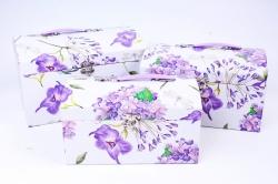 Набор подарочный коробок из 3 шт - Сундук Гортензия сиреневая  R18