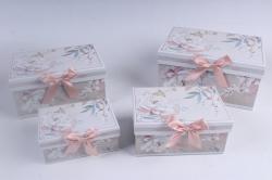 Набор подарочный коробок из 4шт - Прямоугольник Цветы на бежевом 22*15*11см D765