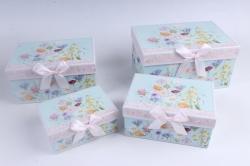 Набор подарочный коробок из 4шт - Прямоугольник Цветы на голубом 22*15*11см D764